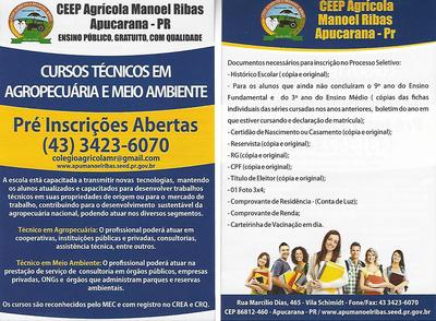 Colégio Agrícola Manoel Ribas abre inscrições para Cursos Técnicos em Agropecuária e Meio Ambiente
