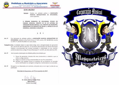Sancionada a Lei que declara de utilidade pública a Associação Musical Mosqueteiros de Apucarana